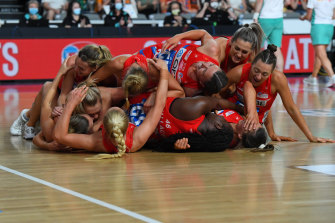 The exultant Swifts win the 2021 Super Netball grand final after 67 days away from home.