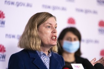 NSW Chief Health Officer Kerry Chant at Thursday's COVID-19 press conference.