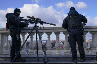 A sniper team that was part of the security detail for the inauguration.