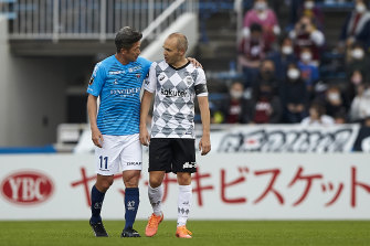'King Kazu' with Spanish legend Andres Iniesta, who now plays for Japanese club Vissel Kobe.