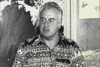 Gough Whitlam speaks at the second day of the ALP conference in Terrigal, NSW, in February 1975.