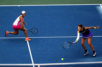 US Open doubles runners-up Ashleigh Barty and Victoria Azarenka.