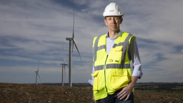 Minister for Climate Change and Sustainability Shane Rattenbury at the Crookwell 2 wind farm on Saturday.