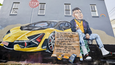 The mural of Israel Folau by artist Scott Marsh on the side of the Botany View Hotel.