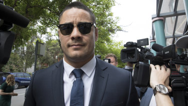 Jarryd Hayne arrives at Burwood Local Court for a committal hearing on an aggravated sexual assault charge.