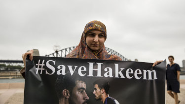 Fatima Yazbek, of Gulf Institute for Democracy and Human Rights, at the demonstration in Sydney on Thursday.