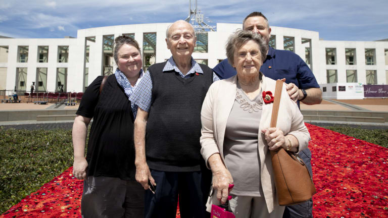 World War II veteran Don Haggarty, 92, and his wife Josie with their son Chris and daughter-in-law Alyson Brown at the opening of the carpet of poppies.