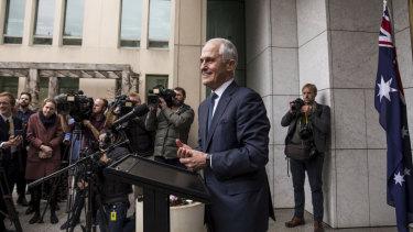 Prime Minister Malcolm Turnbull speaks to the media.