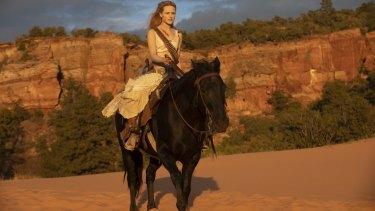 Evan Rachel Wood as Dolores Abernathy in Westworld.