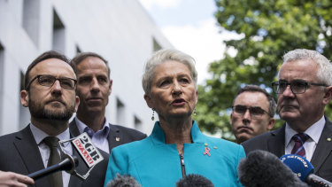 Dr Kerryn Phelps, centre, Senator Tim Storer, second right, and other crossbenchers discussing the medical transfer bill last year.