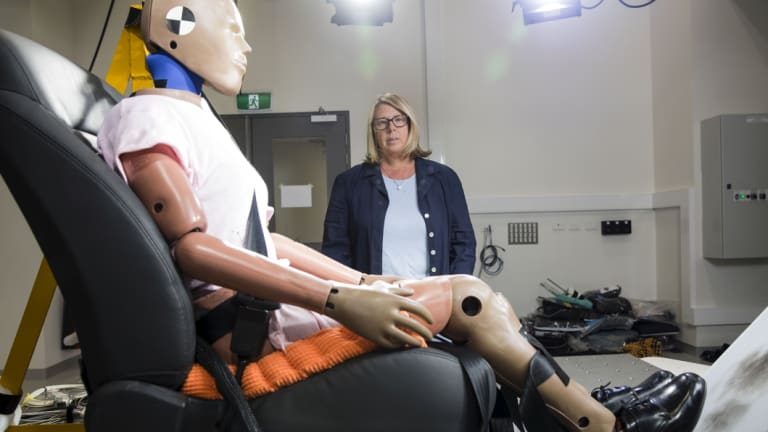 Professor Dr Julie Brown at the Transurban Road Safety Lab in Randwick.