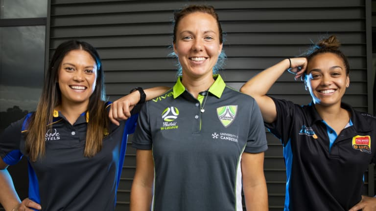 ACT Meteors' Angela Reakes, Canberra United's Rachel Corsie, and Canberra Capitals' Leilani Mitchell at the season launch.