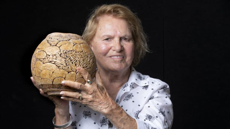 Senior Ngunnawal elder Aunty Loretta Halloran's pottery is inspired by her childhood when her father would teach her to swim and fish in the Yass river.