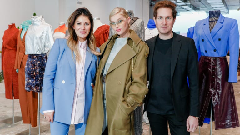 Model Elsa Hosk (centre) with Camilla Freeman-Topper and Marc Freeman, of Camilla and Marc, at their New York Fashion Week presentation.