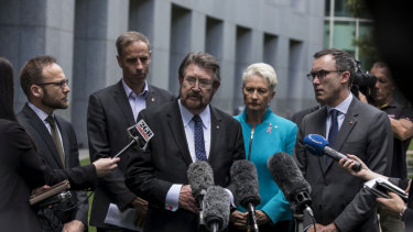 Dr Kerryn Phelps MP, Andrew Wilkie MP, Adam Bandt MP, Senator Nick McKim, Senator Tim Storer and Senator Derryn Hinch speak to the media about discuss a new crossbench bill that would require the urgent evacuation to Australia of any asylum seeker or refugee on Manus Island or Nauru.
