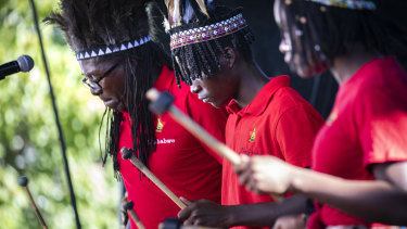 Zimbabwean group Zim Pride perform in Civic Square on day one of the multicultural festival.