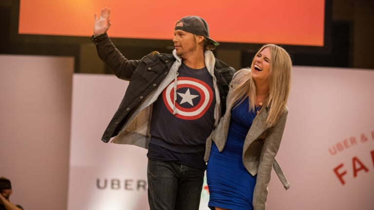 Tara Pavlovic and Sam Cochrane at the Farewell Fashion Show, hosted by Uber and Australian Red Cross at Paddington Town Hall on Thursday.