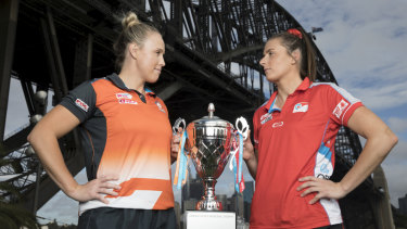 Giants captain Kim Green and Maddy Proud of the NSW Swifts face off for the Sydney derby.
