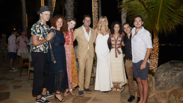 Marcus, Elisa and Evee Pointon, Karl Stefanovic, Jasmine Yarbrough, Jenna Dinicola, Tom and Peter Stefanovic at the pre-wedding function.