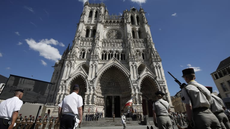 Soldiers mark the 100th anniversary of the Battle of Amiens.