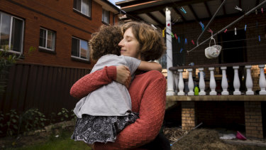 Hanna Torsh and her daughter Lena at their rental home in Campsie in Sydney.