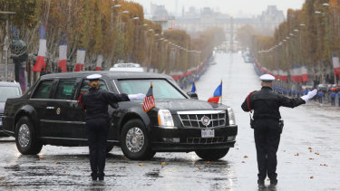 The armoured limousine carrying Donald Trump.