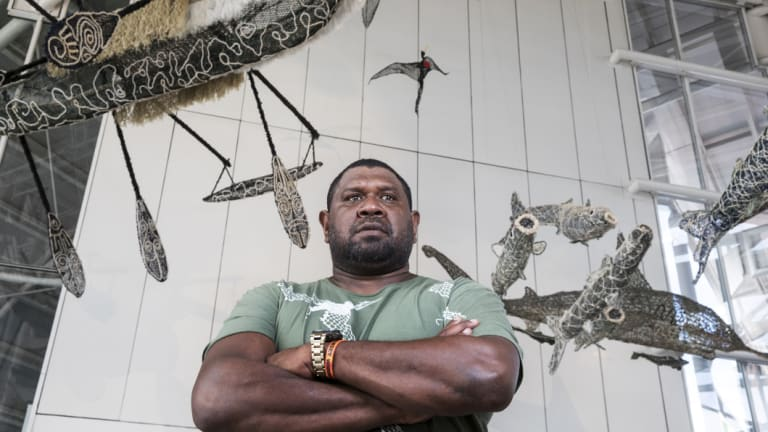 Jimmy J Thaiday is one of 14 artists whose work features in the newest exhibit.