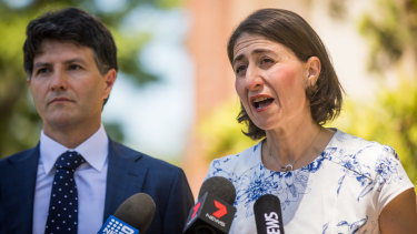 Premier Gladys Berejiklian and Finance Minister Victor Dominello in Ryde.