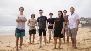 Balgowlah Boys High School 2018 English class students Jesse lilley, Josh Smith, Arran Burns, Nikita Chopenko and Thomas Southgate with teacher Aimee Jan and principal Paul Sheather celebrating excellent results.