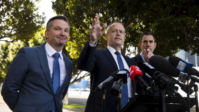 Shadow treasurer Chris Bowen, Opposition Leader Bill Shorten and shadow finance minister Jim Chalmers.