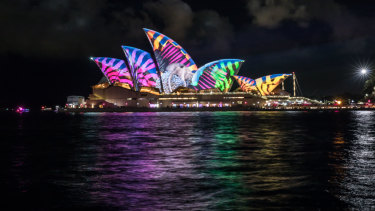 The Opera House lit up for Vivid Festival in 2017