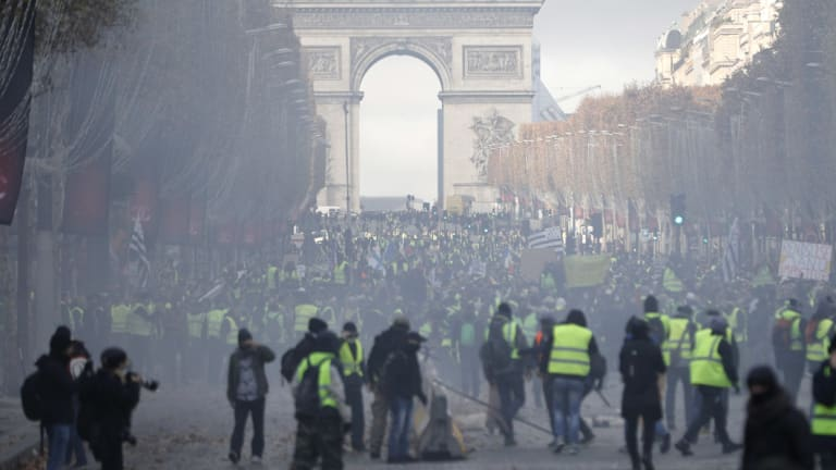 """The """"yellow vest"""" movement has evolved into a wider, broadbrush anti-Macron uprising over the past three weeks."""