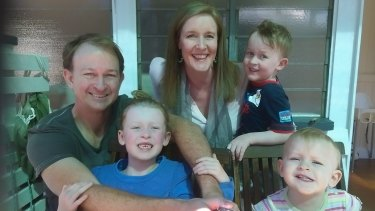 Heidi and Ned Mules with their three surviving children, Amelie (7), Max (4) and Zara (2).