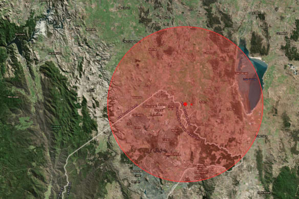A map shows the 3.1 magnitude earthquake that hit over the ACT border near Sutton and the radius it was felt.