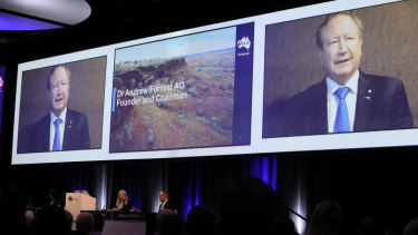 Andrew Forrest, Chairman, appearing via video at Fortescue Metals Group AGM at Perth Convention Centre.