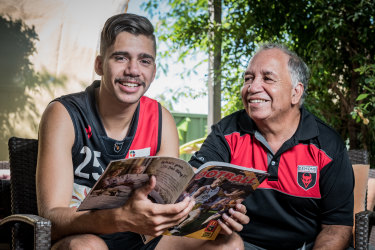 AFL draft hopeful Elijah Taylor and grandfather Dennis Taylor  at their home near Fremantle.