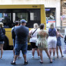 SYDNEY, AUSTRALIA - January 7, 2018: SYDNEY, AUSTRALIA - SMH NEWS: 070118: GENERICS- Crowds wait for a bus in the Sydney CBD. Transport. Infrastructure.  State Government. Work. (Photo James Alcock /Fairfax Media).