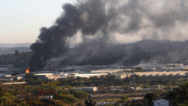 A building burns near Durban, South Africa.