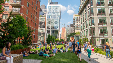 The High Line in New York City is a linear public park built on an old railway.