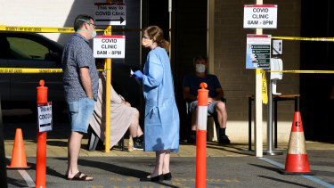 Patients outside the COVID-19 fever clinic at Sir Charles Gairdner hospital.