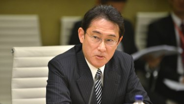 Japan's then-Minister for Foreign Affairs, Fumio Kishida in 2015 at the opening of talks between Japan's and Australia's Foreign and Defence ministers in Sydney.