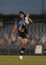 Benji Marshall warms up before the Penrith game last weekend.