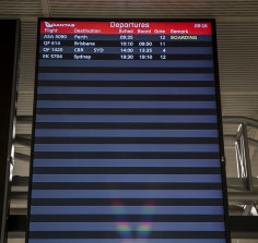The departures screen at Melbourne Airport on Wednesday morning.