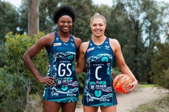 Mwai Kumwenda and Kate Moloney in Melbourne Vixens' Indigenous uniform.