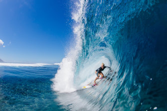 Tatiana Weston-Webb enjoys surfing at the Wall of Skulls before the start of the men-only 2019 Tahiti Pro Teahupo'o.