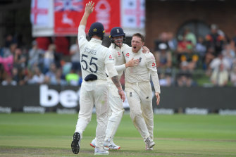 England's Dom Bess celebrates after taking the wicket of Rassie van der Dussen on day three of the Third Test against South Africa on Saturday.