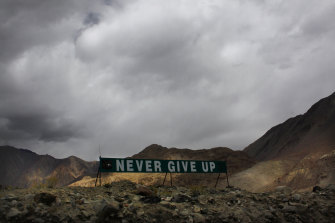 A banner erected by the Indian army stands near Pangong Tso near the India-China border in Ladakh in 2017.