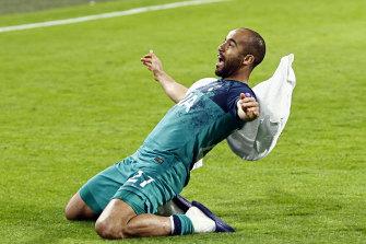 Hat-trick hero Lucas Moura celebrates Spurs' advancement to the Champions League final.