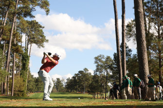 Cameron Smith tees off on the 17th at Augusta.