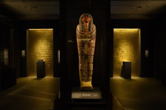 The coffin of Padiashaikhet, Thebes, inside the Mummy Room at the Chau Chak Wing Museum at Sydney University.